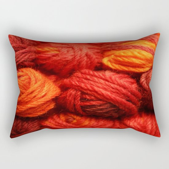 Many Balls of Wool in Shades of Red Rectangular Pillow