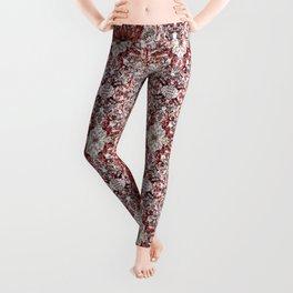 Beautiful Red Foklore Damask Pattern Leggings