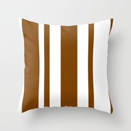 Mixed Vertical Stripes - White and Chocolate Brown Throw Pillow