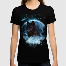 Black Wolf Blue Moon Full Scape T-shirt