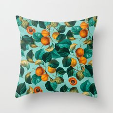 Peach and Leaf Pattern Throw Pillow