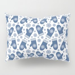 Wintery Blue Snowflake Mittens Pillow Sham