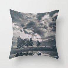 Black and white lake Throw Pillow