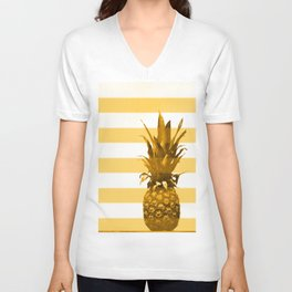 Pineapple with yellow stripes - summer feeling Unisex V-Neck