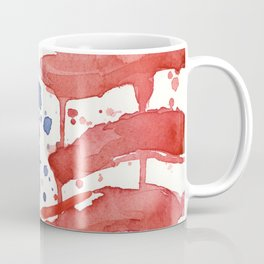 American Flag Watercolor Abstract Stars and Stripes Coffee Mug
