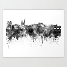 Prague skyline in black watercolor  Art Print