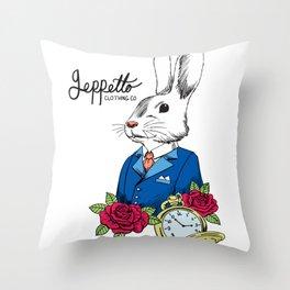 Geppetto White Rabbit Throw Pillow