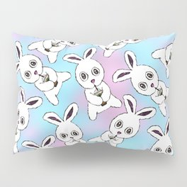 Cute Bunny with Coffee Frappe on Pink Blue Haze Pillow Sham