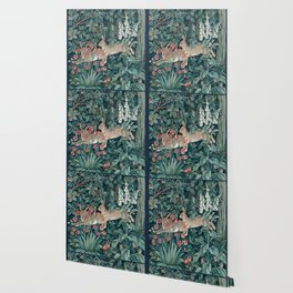 William Morris Forest Rabbits and Foxglove Wallpaper
