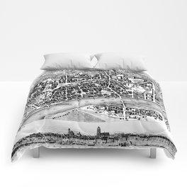 Vintage Map of Frankfurt Germany (1845) BW Comforters