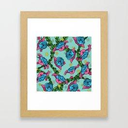 Blue Rose Pattern Framed Art Print