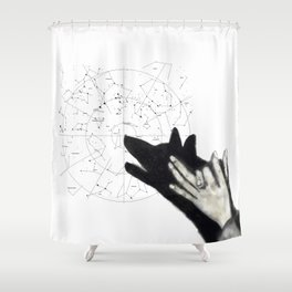 Howling at cosmos Shower Curtain