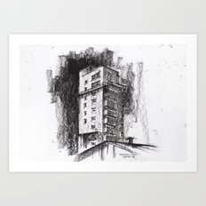 Tablattturm Stuttgart - charcoal Art Print