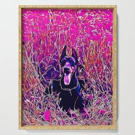 doberman dog red flowers meadow vector art purple Serving Tray