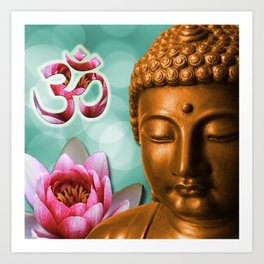 Buddha Lotus Flower & Crown Chakra Art Print