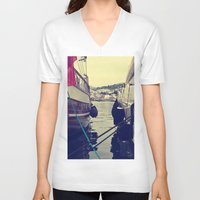 sailing V-neck T-shirts featuring sailing by gzm_guvenc