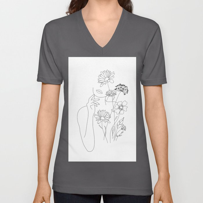 Minimal Line Art Woman with Flowers III Unisex V-Ausschnitt