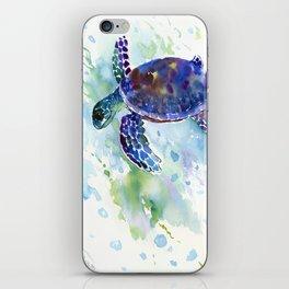 Happy Sea Turtle, aquatic marine blue purple turtle illustration iPhone Skin