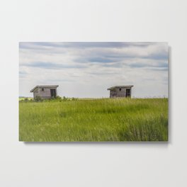 Outhouses at Christiania Township School, North Dakota 3 Metal Print