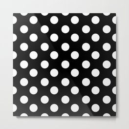 Polka Dot (White & Black Pattern) Metal Print