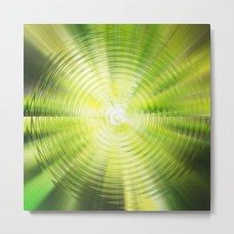 Green digital round waves Metal Print