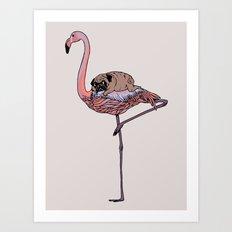 Flamingo and Pug Art Print