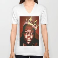 notorious big V-neck T-shirts featuring Notorious Big by The Art Of Gem Starr