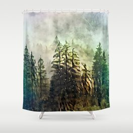 Tree's in the mist Shower Curtain