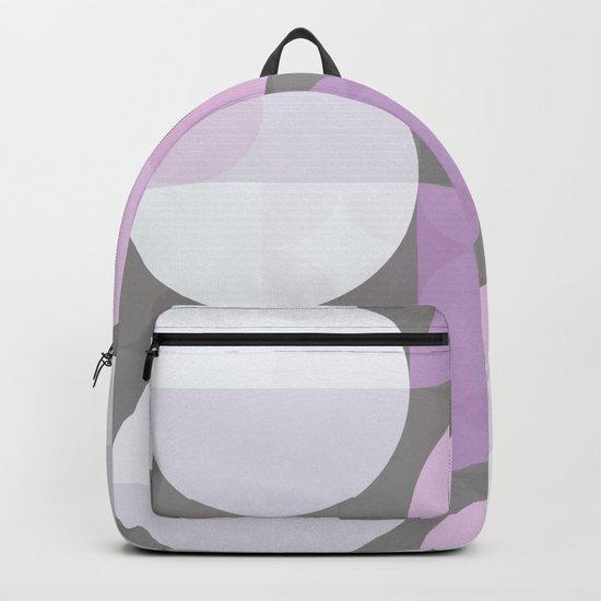 pink grey circular pattern Backpack