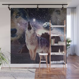 Wolf in the moon howling at the earth Wall Mural