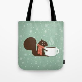 Squirrel Coffee Lover Holiday Tote Bag
