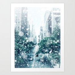 New York City Snowing Blizzard Photo Big Apple Streets Art Print