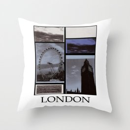 The London Eye and Big Ben in light blue with white border Throw Pillow