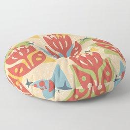 Mid Century Modern Butterfly Garden 201 Floor Pillow
