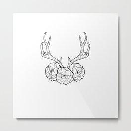 Deer vs Flowers Metal Print