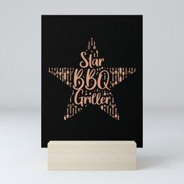 Grill Master Star BBQ Griller Grilling Gift Mini Art Print