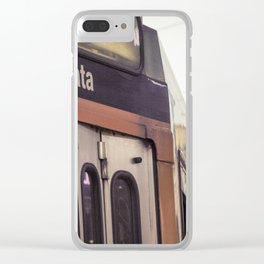 Entrance of a tram in the center of Milan Clear iPhone Case