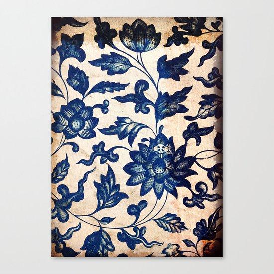 Blue Oriental Vintage Tile 06 Canvas Print