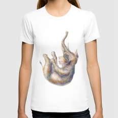Falling Elephant Womens Fitted Tee LARGE White