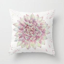 Big Succulent Watercolor Throw Pillow