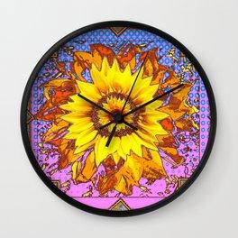 Modern Sunflower Blue & Pinkish-purple Twilight Design Wall Clock
