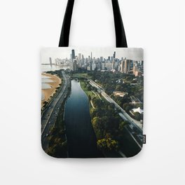 chicago aerial view of the skyline Tote Bag
