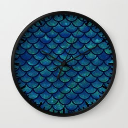Mermaid scales iridescent sparkle Wall Clock