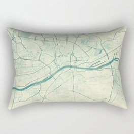 Frankfurt Map Blue Vintage Rectangular Pillow