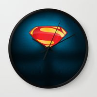 man of steel Wall Clocks featuring Man of Steel Suit by Roboz