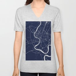 Bangkok Thailand Minimal Street Map - Navy Blue and White II Unisex V-Neck