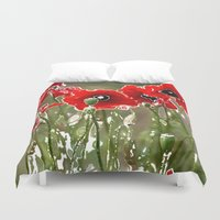 poppies Duvet Covers featuring Poppies by Regan's World