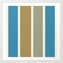 Quattro Stripe Minimalist Color Block Pattern in Blue, Burnished Gold, Gray, and Cream Art Print