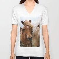iceland V-neck T-shirts featuring Iceland Horses by LUKE/MALLORY