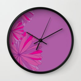 Flowers on purple background Wall Clock